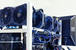 Equipment for mining bitcoin, ethereum and other crypto-currency with use of graphic cards. Equipment for mining bitcoin, ethereum and other crypto-currency with stock image