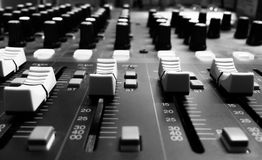 Equipment mixer sound roomrecord Royalty Free Stock Image
