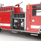 Equipment of a modern fire engine on White. 3D illustration Stock Image