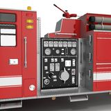 Equipment of a modern fire engine on White. 3D illustration Royalty Free Stock Images