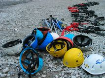 Equipment for mountaineering. Set of equipment for mountaineering - ice-axes,helmets,crampons Stock Photography