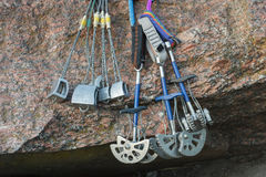 Equipment for mountaineering on the granite stones royalty free stock photo
