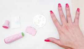Equipment for nail stamping Stock Photos