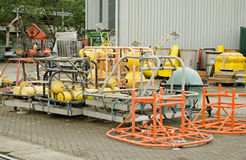 Equipment at National Oceanography Centre. SOUTHAMPTON, UK - MAY 31, 2014:  Equipment for studying the seas on the dockside of the National Oceanography Centre Royalty Free Stock Photography