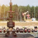 Equipment for oil and gasoline production, oil products production well, petroleum-producing, industry, pipeline stock photos