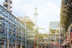 The equipment of oil refining, Detail of oil pipeline with valves in large oil refinery, Industrial zone. The equipment of oil refining, Industrial zone royalty free stock photo