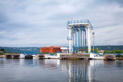 Equipment for oil tankers loading. Black sea Stock Images
