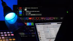 Equipment for event live broadcasting. Cue pilot software. Equipment in outside broadcasting van stock video footage