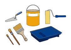 Equipment for painter. Various materials for a professional painter, EPS 10 file Royalty Free Stock Photography