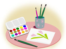 Equipment for painting art. Royalty Free Stock Images