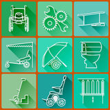 Equipment for persons with disabilities. Set of colored icons flat in a fashionable style with long shadows in shades of green. Stock Image