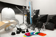 Equipment of a photographic studio Stock Images