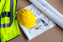 Equipment and plans used for carpentry Stock Images
