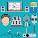 Equipment for podcasting and laptop player,. Microphone and mixer Royalty Free Stock Photography