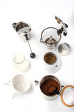 Equipment for preparation coffee on the white background vertical royalty free stock images