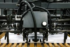 Equipment for a press. The equipment for a press in a modern printing house stock image