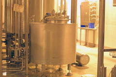 Equipment for production of beer in factory shops Stock Photo