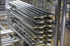 Equipment for production of beer in factory shops Stock Image