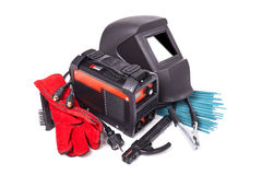 Equipment and protective clothing for welding. Inverter welding machine, welding equipment,  on a white background, welding mask, leather gloves, welding Stock Photography