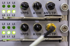 Equipment of radio base station close-up with green diods. Stock Photography