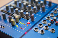The equipment for recording. Sound mixing console Royalty Free Stock Photography