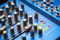The equipment for recording. Sound mixing console Royalty Free Stock Photos