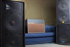 Equipment in recording studio. Guitar amplifier and audio system in recording studio Royalty Free Stock Photo