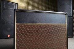 Equipment in recording studio. Guitar amplifier and audio system in recording studio Royalty Free Stock Images