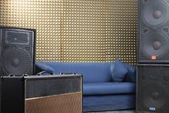 Equipment in recording studio. Guitar amplifier and audio system in recording studio Stock Photo
