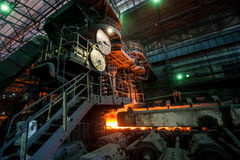 The equipment of the rolling mill. Manufacturing process stock photo