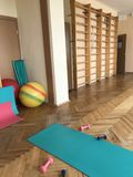 Equipment of the room of therapeutic physical training. Gym mats, balls and sticks are located at the Swedish wall. Royalty Free Stock Photography