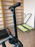 Equipment of the room of therapeutic physical training. Vintage trainer roller running track. Stock Photos