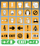 Equipment and safety. Builder wearing personal protection equipment and safety icons Royalty Free Stock Photography