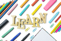 Equipment for school with word of learn Stock Photo