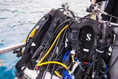 Equipment for scuba diving. On boat Royalty Free Stock Image