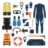 Equipment for scuba diving in a flat style. Equipment for diving in a flat style. Icons diving suit, an underwater mask, snorkel, fins and aqualung. Scuba gear Royalty Free Stock Photography