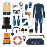Equipment for scuba diving in a flat style. Equipment for diving in a flat style. Icons diving suit, an underwater mask, snorkel, fins and aqualung. Scuba gear Royalty Free Stock Images