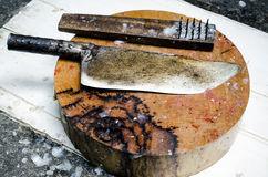 Equipment for slice fish on Cutting Board Royalty Free Stock Photo