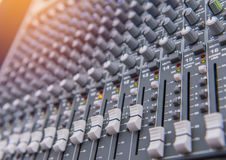 Equipment for sound mixer control, electornic device Royalty Free Stock Photos