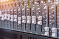 Equipment for sound mixer control, electornic device Royalty Free Stock Photography