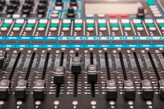 equipment for sound mixer control, electornic device. Royalty Free Stock Photography
