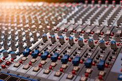 Equipment for sound mixer control, electornic device royalty free stock image
