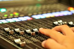 Equipment for sound mixer control  in studio TV station, Audio a. Nd Video Production Switcher of Television Broadcast Royalty Free Stock Image