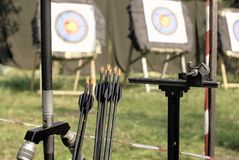 Equipment in sports archery against the background of the targets stock photos