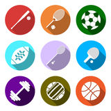Equipment for sports. Flat Sports Objects set.  Stock Photo