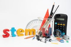 Equipment of STEM education, Science, Technology, Engineering, Mathematics. STEM education concept isolated on white background royalty free stock images