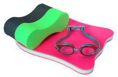 Equipment for swimming. Equipment necessary for swimming training in a basin stock images
