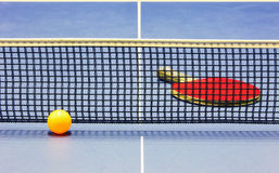 Equipment for table tennis - racket, ball, table Stock Images