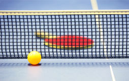 Equipment for table tennis - racket, ball, table Royalty Free Stock Photography
