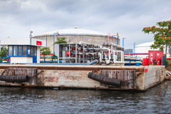 Equipment for tankers loading on Black sea coast Royalty Free Stock Images